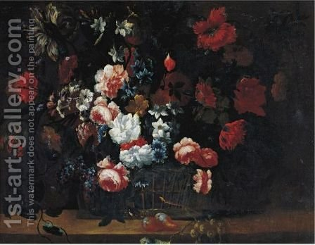 Still Life Of Flowers 2 by (after) Jean-Baptiste Monnoyer - Reproduction Oil Painting