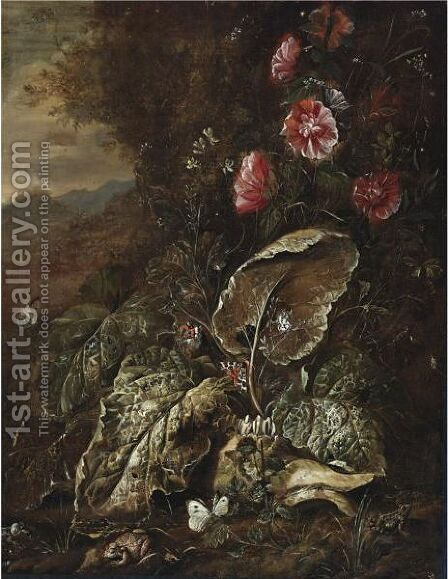 Still Life With Flowers And Plants In A Landscape With Toads And Moths by (after) Otto Marseus Van Schrieck - Reproduction Oil Painting