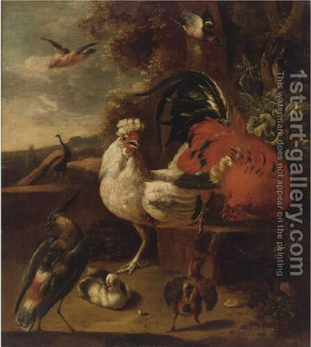 A Cockerel, A Hen, Chicks, A Peacock And Other Birds In A Landscape by (after) Adriaen Van Oolen - Reproduction Oil Painting
