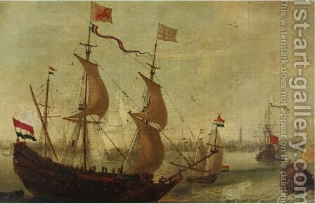 Ships In Antwerp Harbor by (after) Andries Van Eertvelt - Reproduction Oil Painting