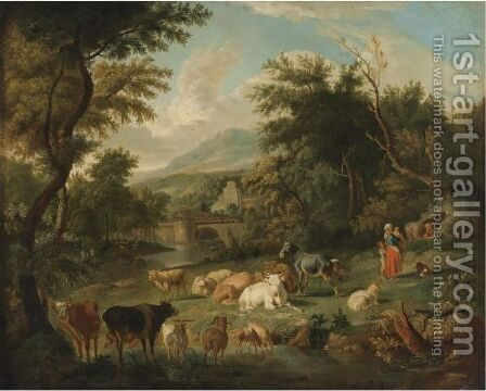 Pastoral Landscape With Watering Cattle And A Town In A Distance by (after) Johann Heinrich Roos - Reproduction Oil Painting