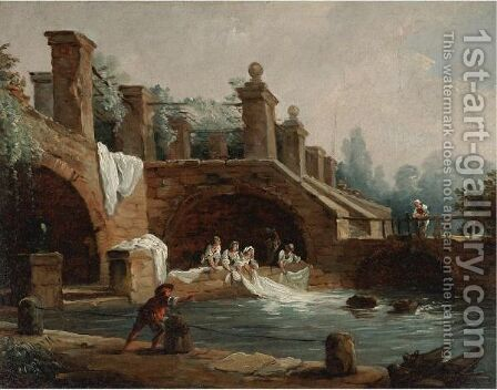 Laundresses At Work Under The Archway Of A Trellised Acqueduct by (after) Hubert Robert - Reproduction Oil Painting