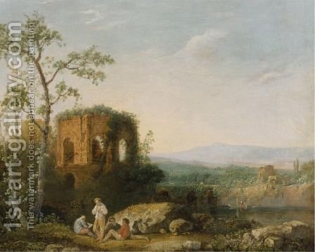 Italianate Landscape, Said To Be A View Of The Temple Of Venus At Baiae by (after) Richard Wilson - Reproduction Oil Painting