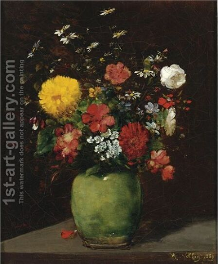 Spring Flowers In A Green Vase by Antoine Vollon - Reproduction Oil Painting