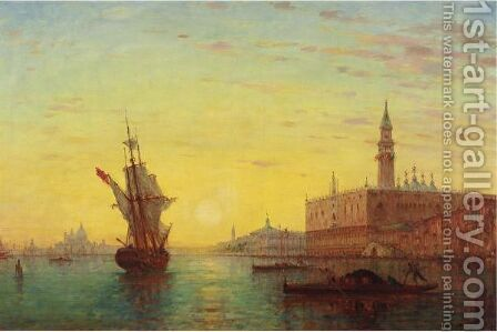 View Of The Doge's Palace, Venice by Charles Clement Calderon - Reproduction Oil Painting