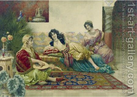 Idle Hours In The Harem by Giuseppe Aureli - Reproduction Oil Painting