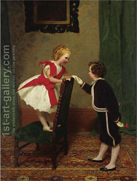 Miss Lily's First Flirtation by James Hayllar - Reproduction Oil Painting