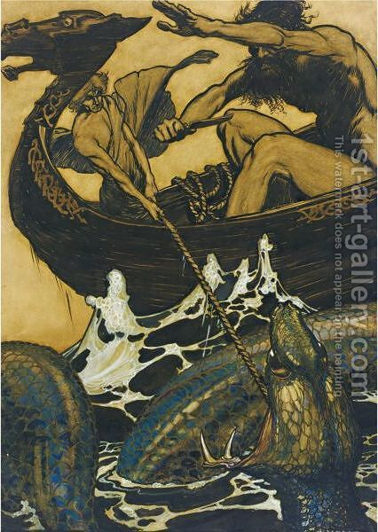 Sea Battle (Stories From The Edda) by Arthur Rackham - Reproduction Oil Painting
