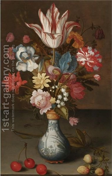 Still Life Of A 'Semper Augustus' Tulip, Irises, A Carnation And Other Flowers In A Wan-Li Vase by Balthasar Van Der Ast - Reproduction Oil Painting