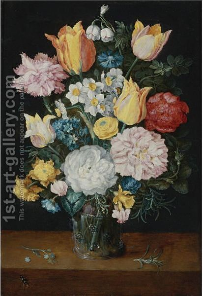 Still Life Of Tulips, Roses, Narcissus, Forget-Me-Nots, A Carnation And Other Flowers In A Glass Vase by Jan The Elder Brueghel - Reproduction Oil Painting
