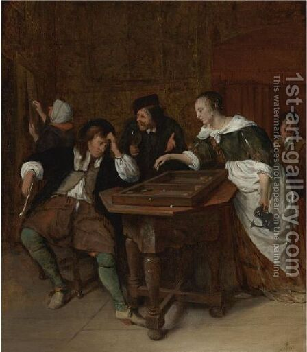 The Tric-Trac Players by Jan Havicksz. Steen - Reproduction Oil Painting