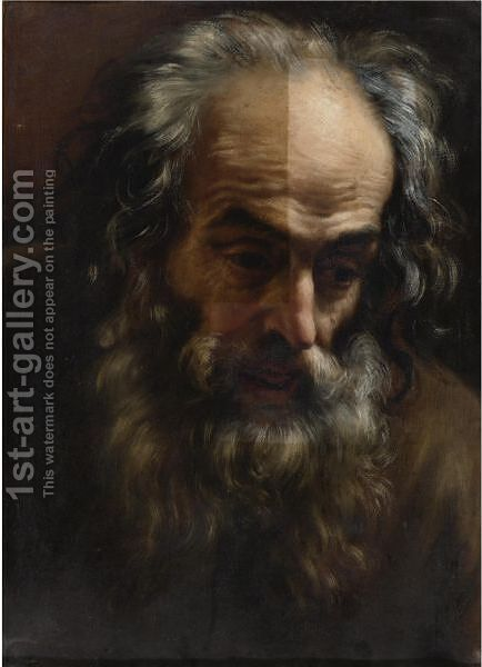 Head Of An Old Man by (after) Giovanni Battista (Baciccio) Gaulli - Reproduction Oil Painting