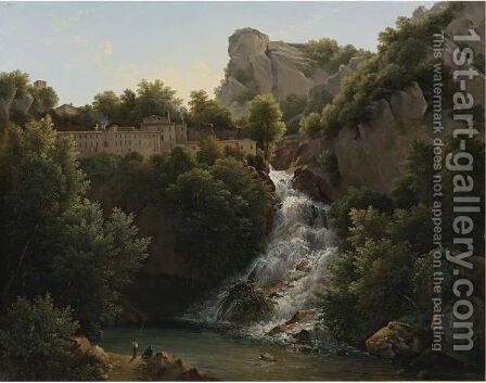 A Landscape With A Waterfall, A Mountain Village At The Edge Of The Cliff by Augustin Marius Paul Bec (Polydore De Bec) - Reproduction Oil Painting