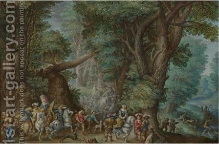 A Stag Hunt by (after) Friedrich The Elder Brentel - Reproduction Oil Painting