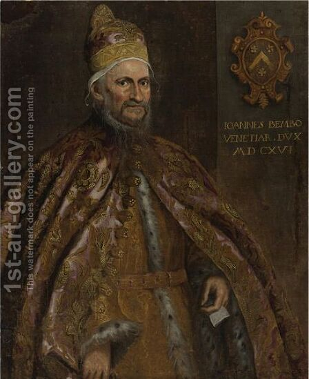 Portrait Of The Doge Giovanni Bembo by Domenico Tintoretto (Robusti) - Reproduction Oil Painting