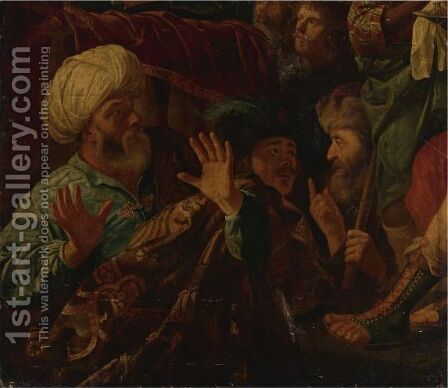 Possibly Ahasveros Condemning Haman by (after) R. Van Adelo - Reproduction Oil Painting