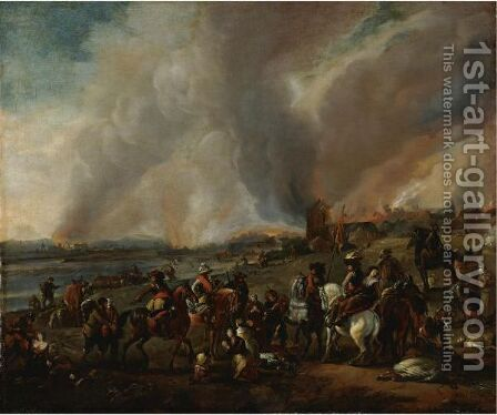 The Sack Of A Village by (after) Philips Wouwerman - Reproduction Oil Painting