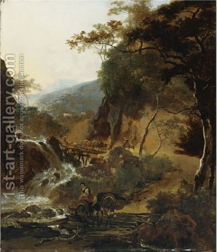 Figures And Cattle Crossing A Bridge by Adam Pynacker - Reproduction Oil Painting