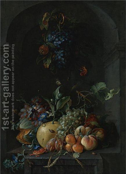 Still Life Of Grapes, Melons, Peaches, Plums And Other Fruit With Morning Glory And Shafts Of Wheat In A Stone Niche by Coenraet Roepel - Reproduction Oil Painting