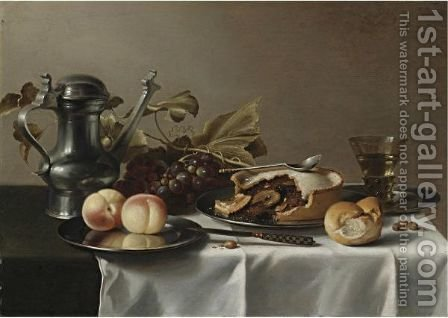 Still Life Of Grapes, A Pie, Peaches, A Pewter Ewer, A Roemer, Hazelnuts, A Bread Roll by (after) Pieter Claesz - Reproduction Oil Painting