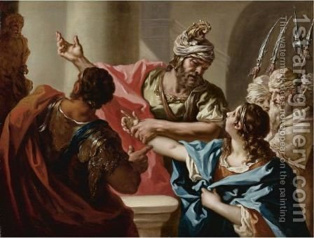 Young Hannibal Swears Enmity To Rome by Giovanni Antonio Pellegrini - Reproduction Oil Painting