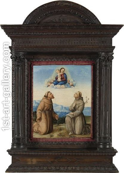 The Virgin Appearing To Saints Francis And Anthony Of Padua by (after) Girolamo Marchesi Da Cotignola - Reproduction Oil Painting