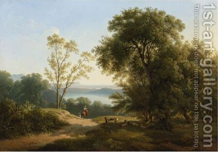 View Of Lake Albano by Martin Verstappen - Reproduction Oil Painting