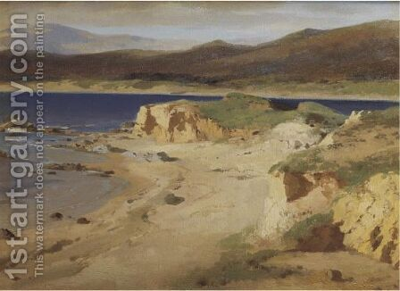A Coastal View Near Cannes by Alexandre Calame - Reproduction Oil Painting