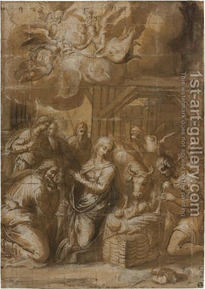 The Adoration Of The Shepherds by (after) Felice Rizzi - Reproduction Oil Painting