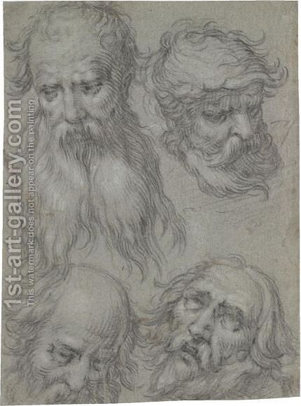 Sheet Of Studies Of Heads Of Bearded Men by Abraham Bloemaert - Reproduction Oil Painting