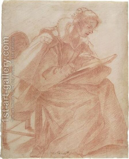 A Lady Seated, Sketching by (after) Lorenzo Lippi - Reproduction Oil Painting