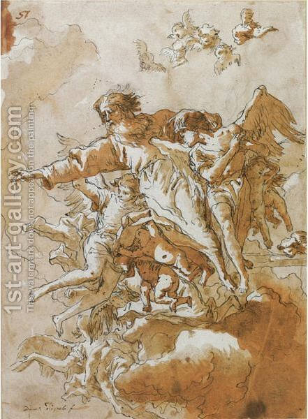 God The Father In The Clouds Supported By Angels And Putti by Giovanni Domenico Tiepolo - Reproduction Oil Painting