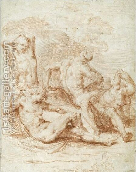 Four Male Nudes In A Landscape by Bernardino Cesari - Reproduction Oil Painting