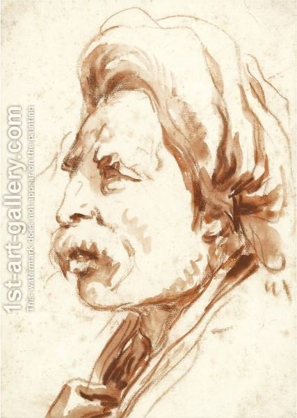 Head Of A Moustachioed Man In A Turban by Giovanni Battista Tiepolo - Reproduction Oil Painting