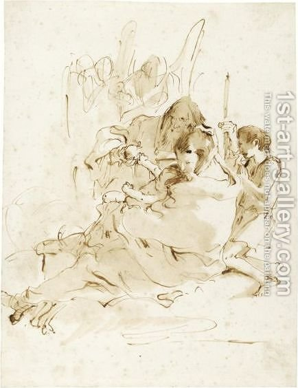 The Holy Family With The Youthful St. John And Two Angels by Giovanni Battista Tiepolo - Reproduction Oil Painting