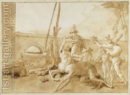 A Centaur Playing With Three Punchinelli by Giovanni Domenico Tiepolo - Reproduction Oil Painting