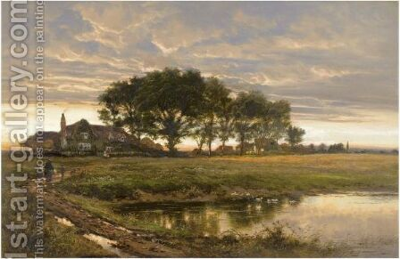 After Rain, Worcestershire by Benjamin Williams Leader - Reproduction Oil Painting