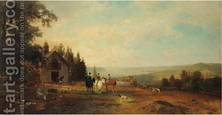 A Morning Ride Along The Hudson River by Herman Fuechsel - Reproduction Oil Painting