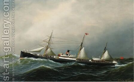 The Devon At Sea by Antonio Jacobsen - Reproduction Oil Painting