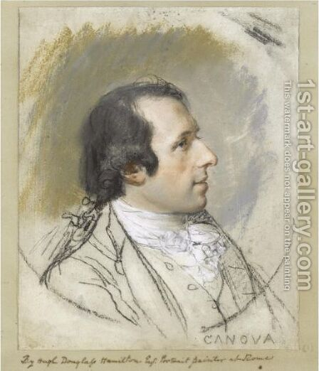 Portrait Of Antonio Canova (1757-1822) by Hugh Douglas Hamilton - Reproduction Oil Painting