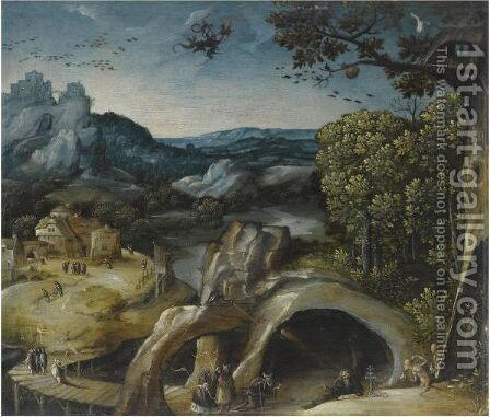 An Extensive Landscape With The Temptation Of St. Anthony by (after) Lucas Gassel - Reproduction Oil Painting