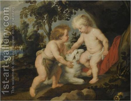 The Infant Christ And St. John The Baptist In A Landscape by (after) Sir Peter Paul Rubens - Reproduction Oil Painting