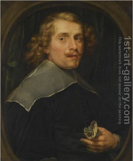 Portrait Of A Man, Half-Length, Wearing Black, Holding A Handkerchief by Antwerp School - Reproduction Oil Painting