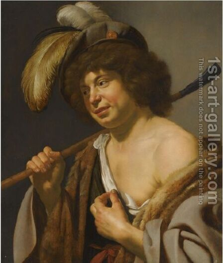 A Shepherd, Wearing A Plumed Hat, Holding A Staff In His Right Hand by Jan Van Bijlert - Reproduction Oil Painting