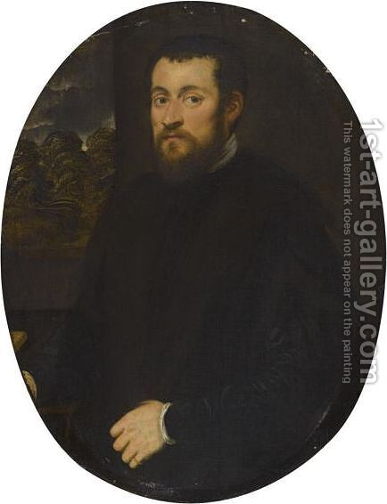 Portrait Of A Gentleman, Half Length, Before An Open Window by Jacopo Tintoretto (Robusti) - Reproduction Oil Painting