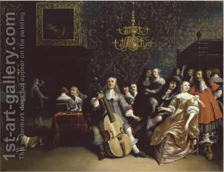 A Merry Company In An Interior 2 by Anthonie Palamedesz. (Stevaerts, Stevens) - Reproduction Oil Painting