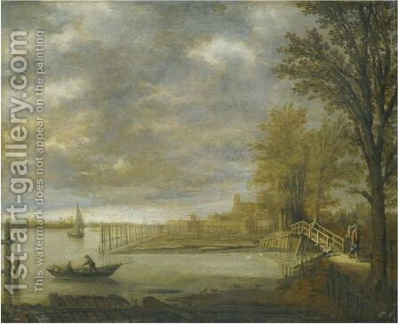 Landscape With A View Of Dordrecht From The South With A Lumber Yard by Aelbert Cuyp - Reproduction Oil Painting