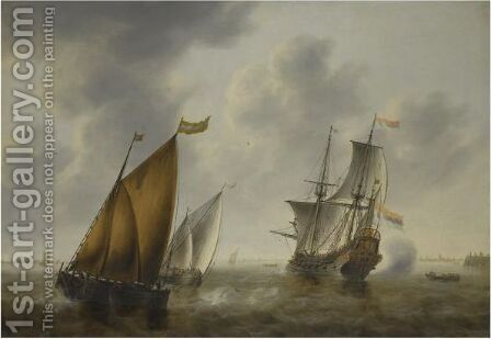 Shipping In A Breeze Off The Dutch Coast by Jacob Adriaensz. Bellevois - Reproduction Oil Painting