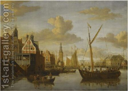 A View Of Amsterdam,with The Paalhuis At The Nieuwe Brug Over The Damrak In The Foreground by Jacobus Storck - Reproduction Oil Painting