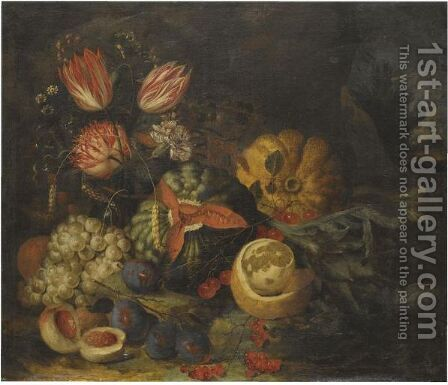 A Still Life With Tulips, Carnations, Grapes, Melons, Peaches, Cherries And A Partly Peeled Lemon by Jan Pauwel II the Younger Gillemans - Reproduction Oil Painting